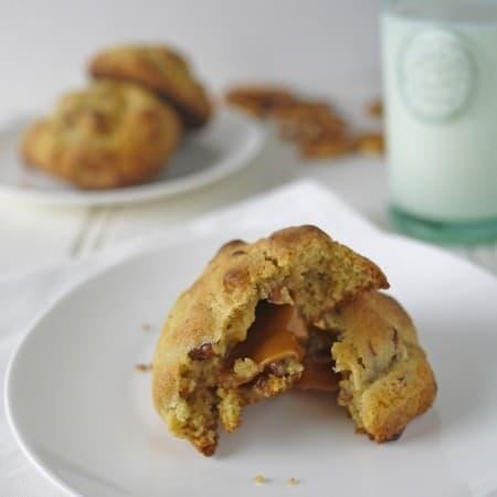 Salted Pecan Pretzel Caramel Cookies