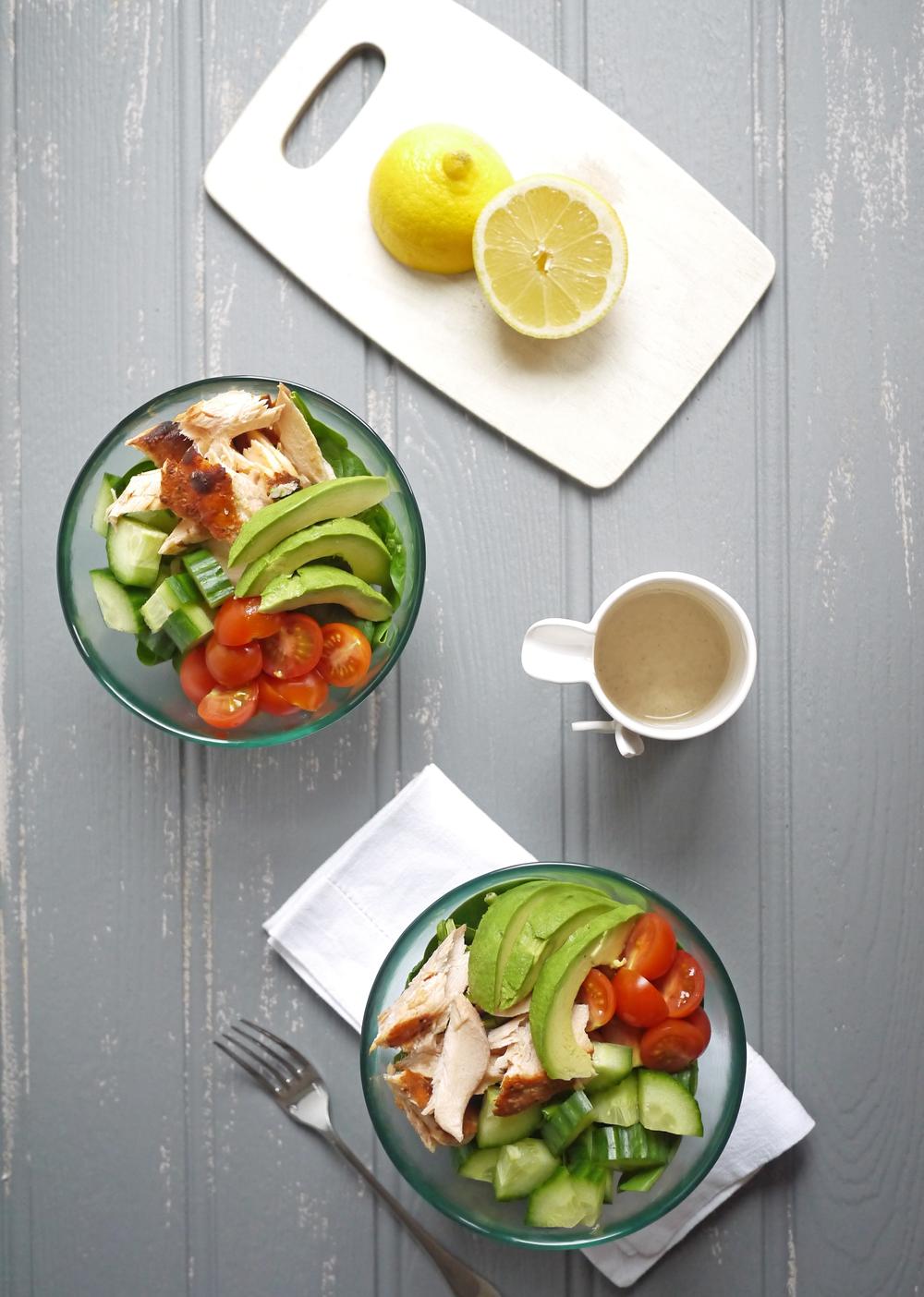 Salmon Salad with Lemon Tahini Dressing Overhead