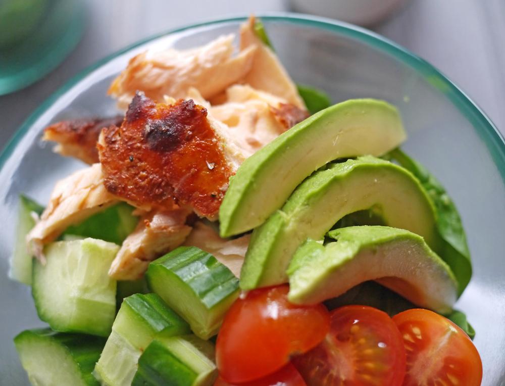 Salmon Salad with Lemon Tahini Dressing Close Up