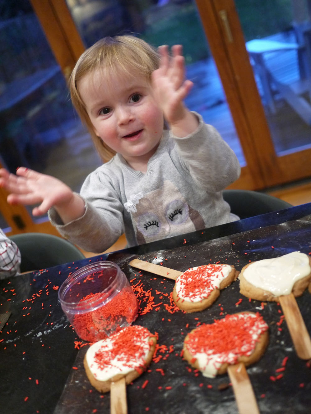 Toddlers Cooking Valentines Cookie Pops