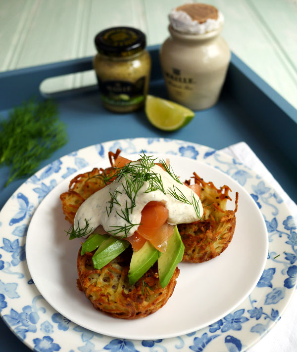 Oven Baked Rosti with Smoked Salmon Dill Mustard and Lime