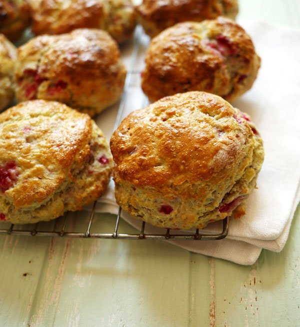 Raspberry Scones Biscuits with Passion Fruit and Clotted Cream Recipe