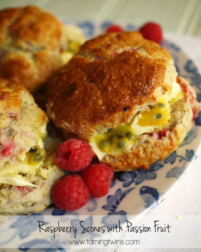 Raspberry Scones with Clotted Cream and Passion Fruit