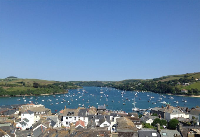 Salcombe Harbour View with Bright Blue Skies