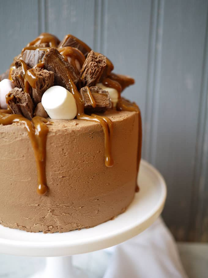 Chocolate Caramel Rocky Road Layer Cake