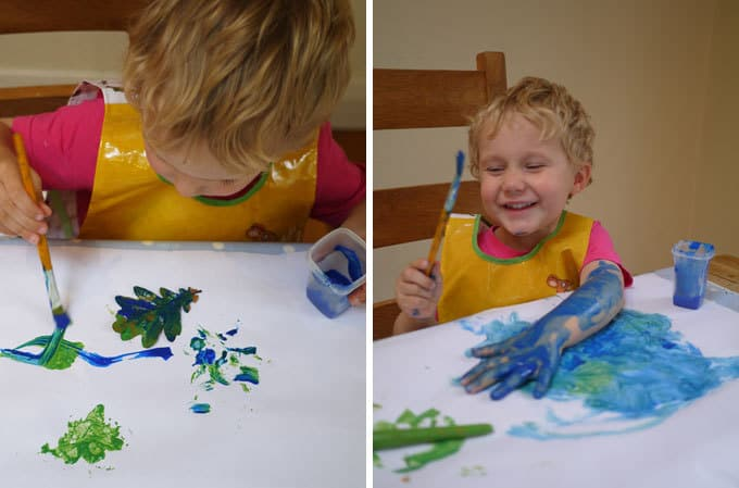 Toddler Leaf Painting Mess