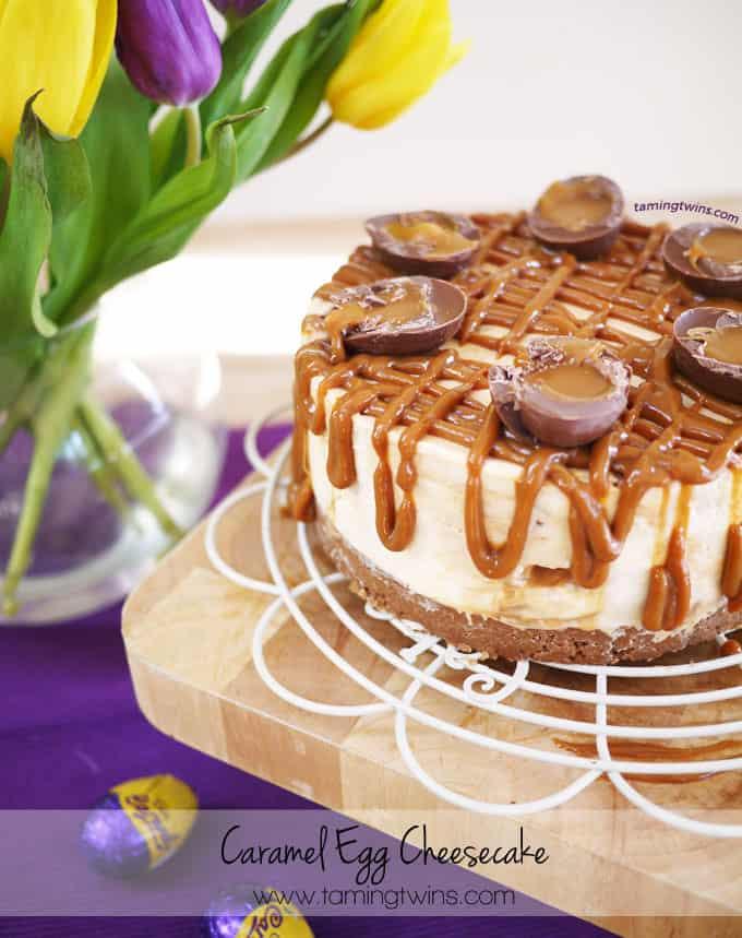 Caramel Egg Cheesecake - A light, rich no bake caramel cheesecake. The perfect easy but stunning dessert!