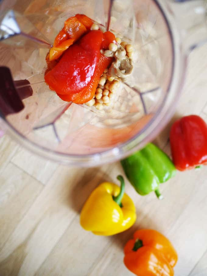 Layered, roasted pepper rainbow hummus, totally natural colours, vegan and perfect for kids.