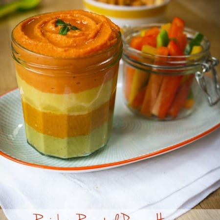 Roasted Pepper Rainbow Hummus
