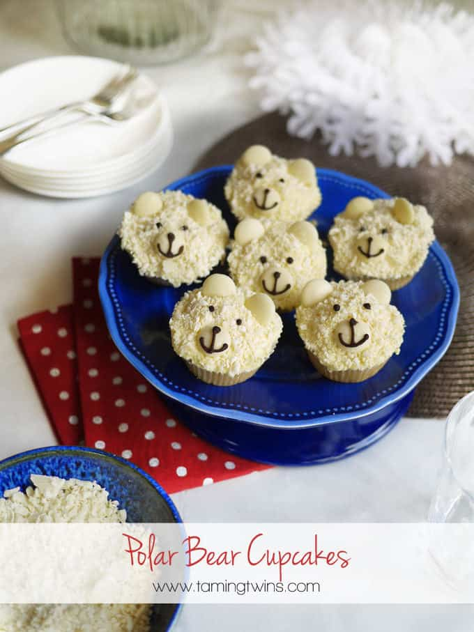 This easy Polar Bear Cupcakes recipe is the perfect Christmas or festive cake bake. Really fun to make with kids, using white chocolate.