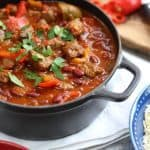 This easy Chilli Con Carne recipe (or Chili Con Carne, if you're in the USA) is perfect for family dinners, not too spicy and easy to slow cook ready for later. Made with beef steaks (rather than mince) for a better texture, packed with extra vegetables, makes a brilliant freezer filler. http://www.tamingtwins.com