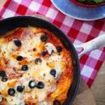 This lighter version of a 'pizza' is quick to whip up in under 10 minutes and high in protein. It makes a super lunch or dinner and is great cold too. If you're following the Slimming World diet plan, this fits in too. http://www.tamingtwins.com