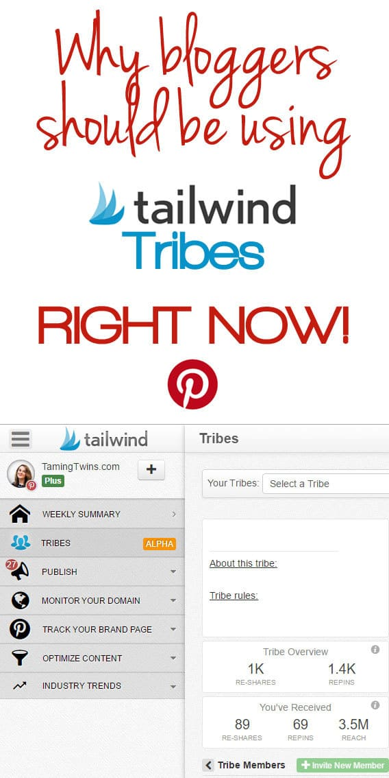 Tips for how to use Tailwind Tribes for Pinterest growth, better engagement and good karma! A must for bloggers and content creators. http://www.tamingtwins.com