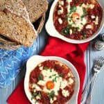 A really quick and tasty supper. On the table within half an hour, packed with delicious tomatoes and feta, it's also high in protein. Serve with crusty bread for dipping. http://www.tamingtwins.com