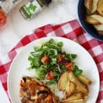 Chicken breasts topped with pizza toppings and mozzarella cheese, a great higher protein, wheat free, gluten free, alternative to regular pizza. Served with potato wedges and salad for a delicious dinner.