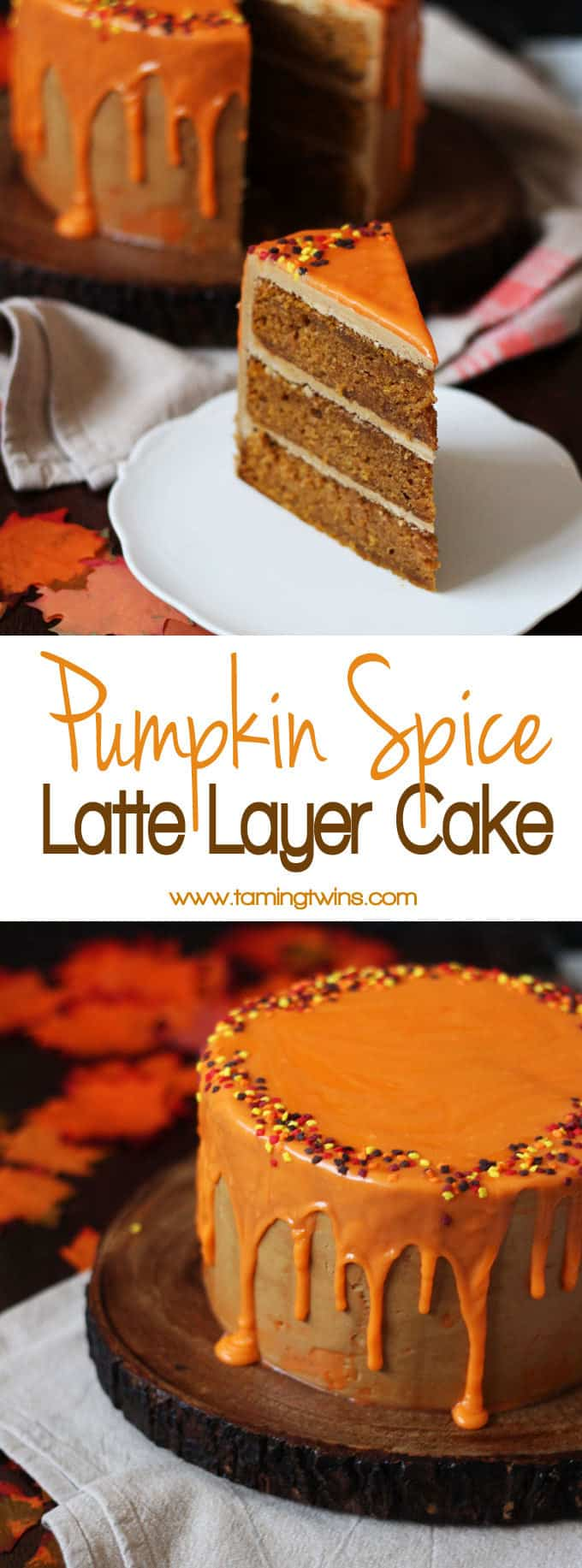 THE Pumpkin Spice Latte Cake Recipe - layers of soft pumpkin spiced cake, with fluffy latte coffee buttercream frosting and a white chocolate ganache icing drizzle. The best Autumn (or fall!) cake. Here's how to make a Pumpkin Spice Latte Layer Cake!