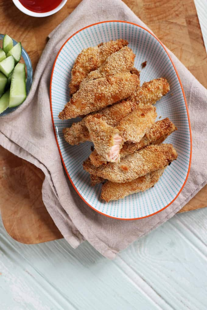 Easy peasy home made salmon fish fingers. Goujons of Norwegian salmon, breaded and oven baked, not fried, for a simple, healthy family supper.