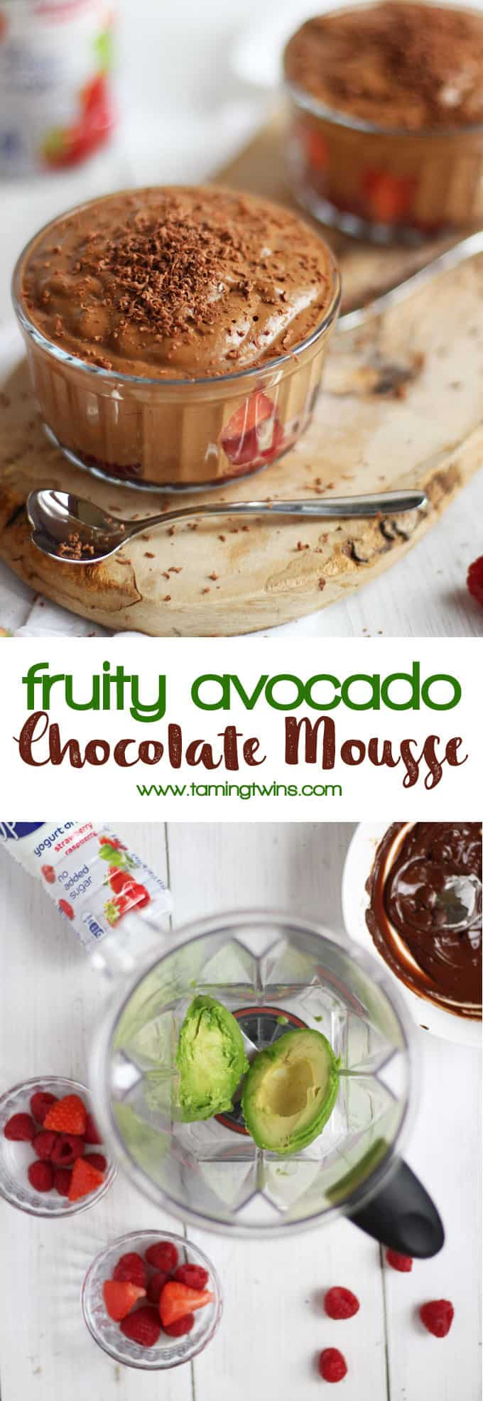 Fruity avocado chocolate mousse - a healthier, lighter chocolate mousse, made with avocados for good fats and Optiwell yoghurt drink and berries for a fruity taste. Whizzed up in just a minute!