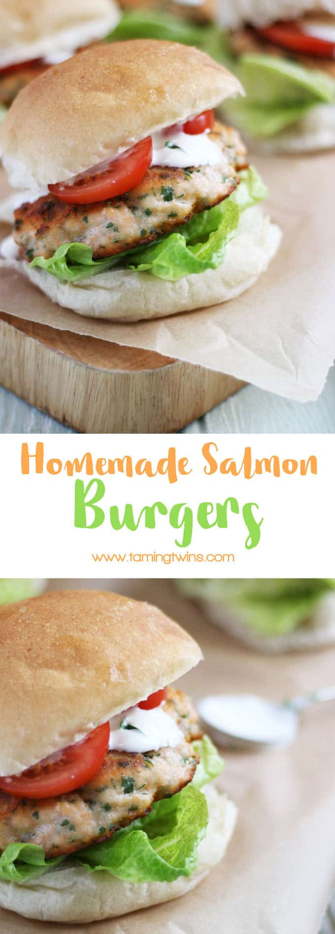 Easy homemade fresh salmon burgers. Delicious burgers, with a hint of curry flavour, a fantastic midweek meal.