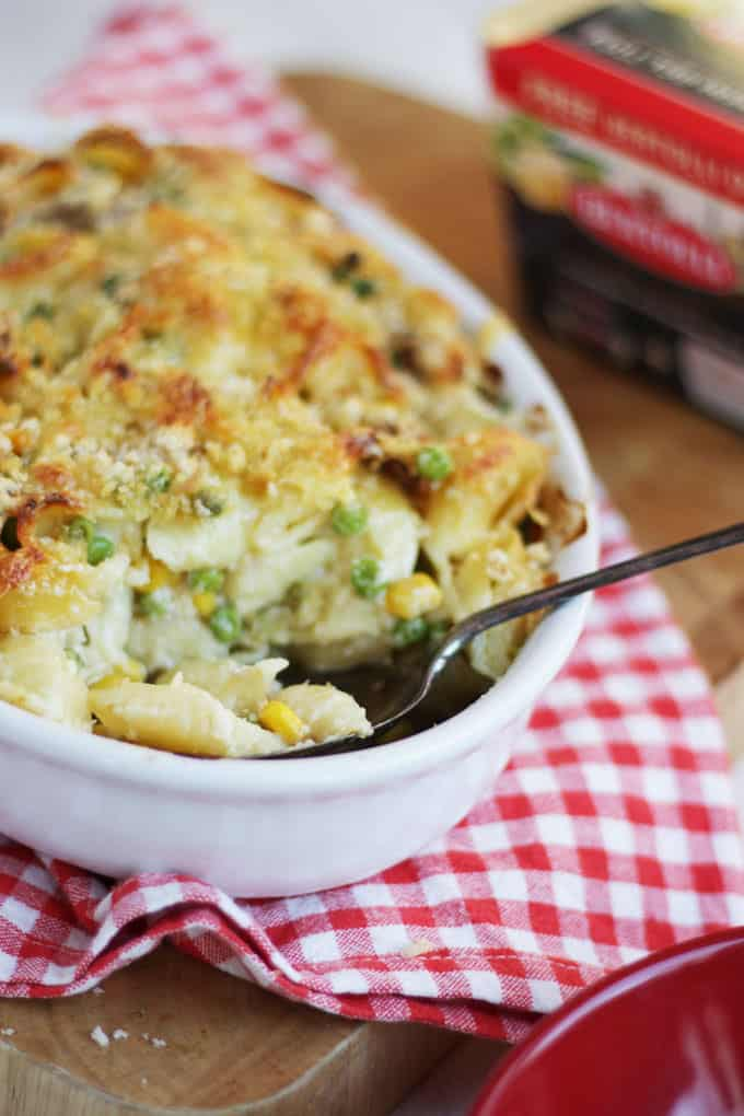 Family friendly, easy tuna pasta bake, made using Bertolli with butter.
