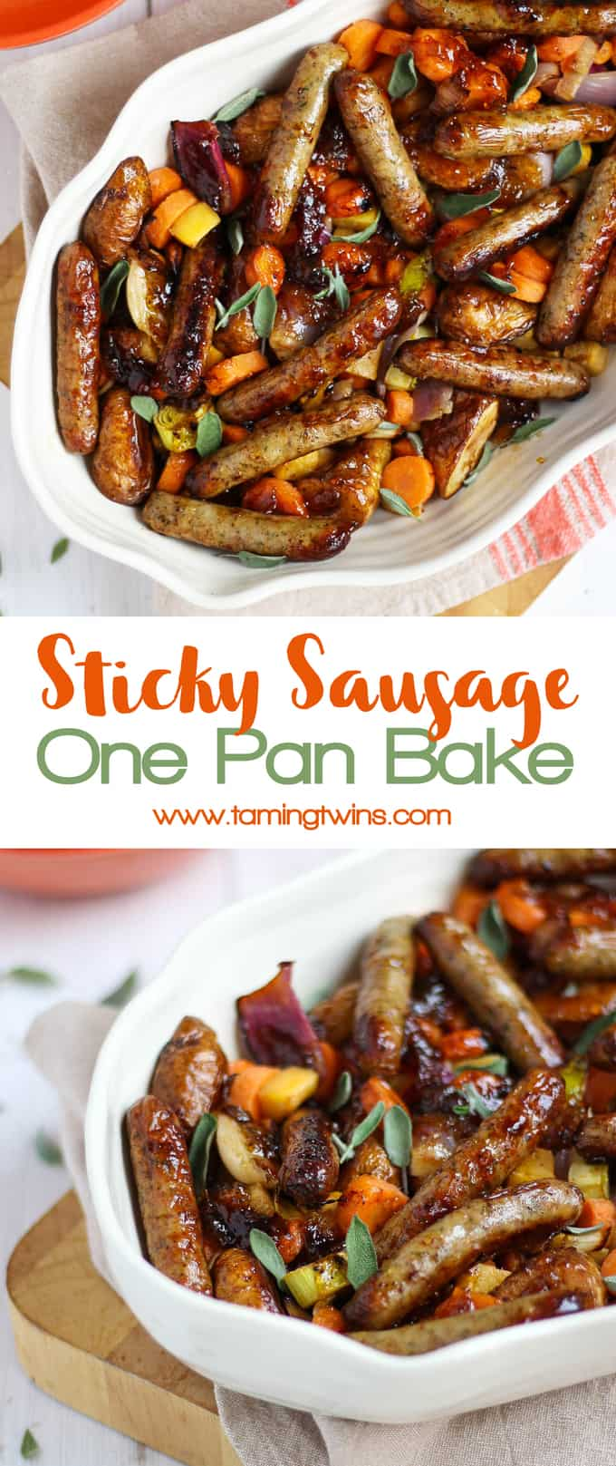 A quick and easy family dinner, this Sticky Sausage One Pan Traybake is simple and tasty. Using marmalade to add sweetness, the kids will love it! Also gluten free, dairy free and wheat free.