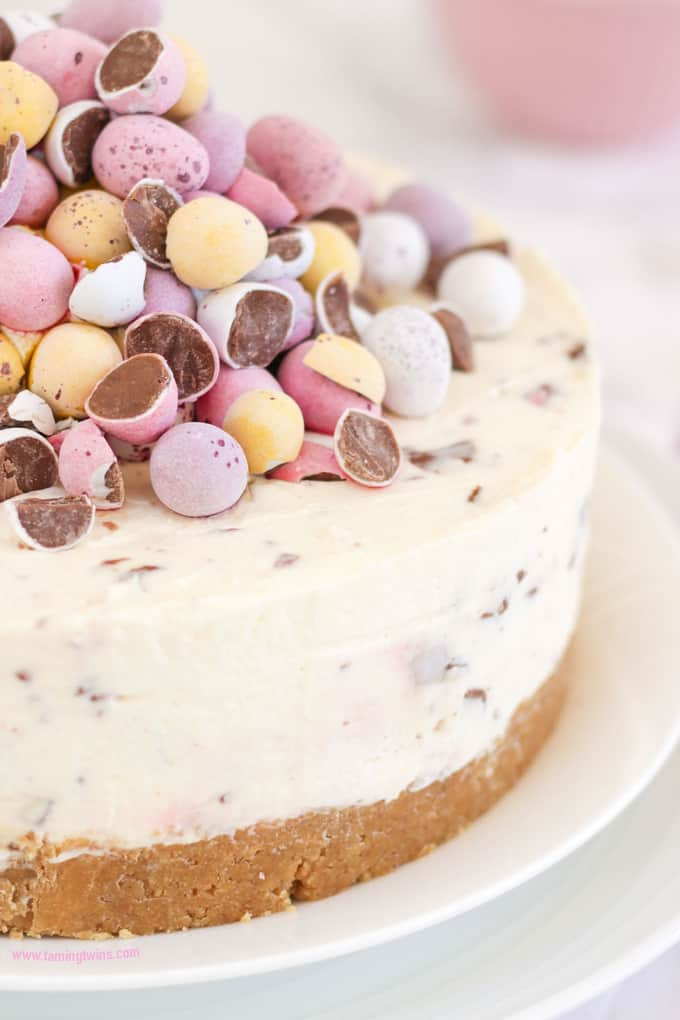 THE Easter dessert! *WITH VIDEO GUIDE* This No Bake Mini Egg Cheesecake is light and easy peasy, packed with Easter chocolate treats. A crumbly biscuit base, topped with whipped cream and cream cheese, absolutely delicious and easy enough for even the beginner. http://www.tamingtwins.com