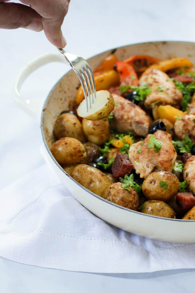 Spanish Chicken One Pot - This quick and simple mid week meal really delivers on flavour and time, and only one pan to wash up! The perfect midweek dinner.