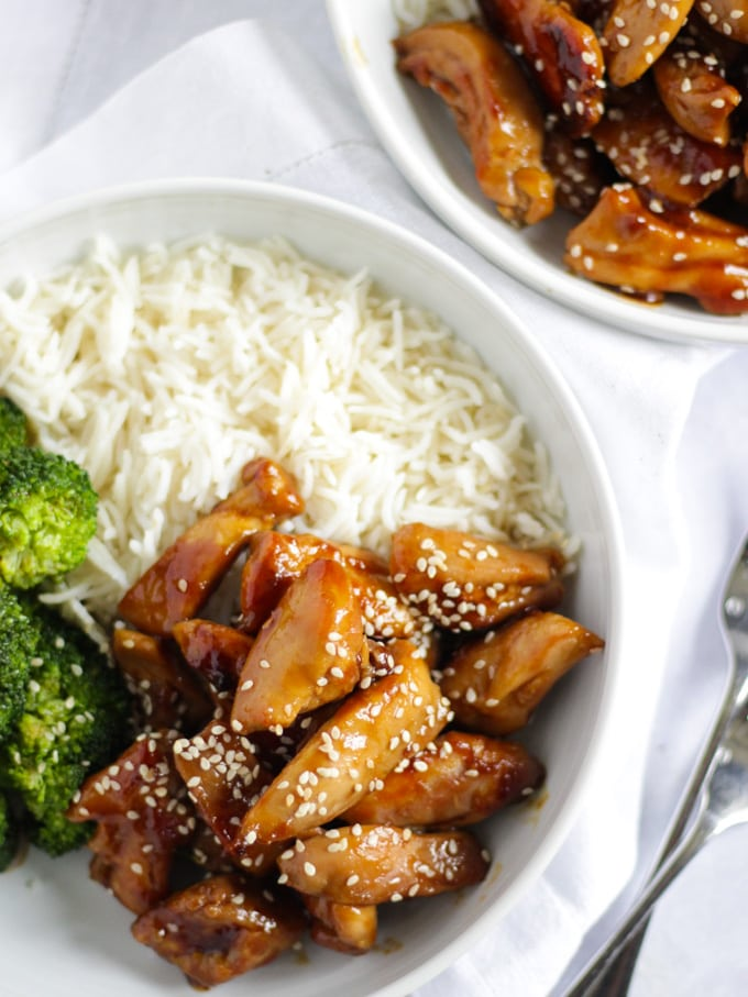 Bowl of rice and teriyaki chicken and broccoli