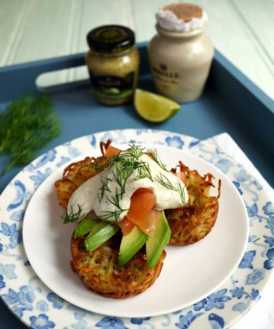 Oven Baked Potato Rosti with Smoked Salmon and a Mustard Dressing