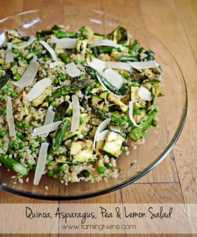Quinoa Pea Asparagues Lemon and Mint Salad