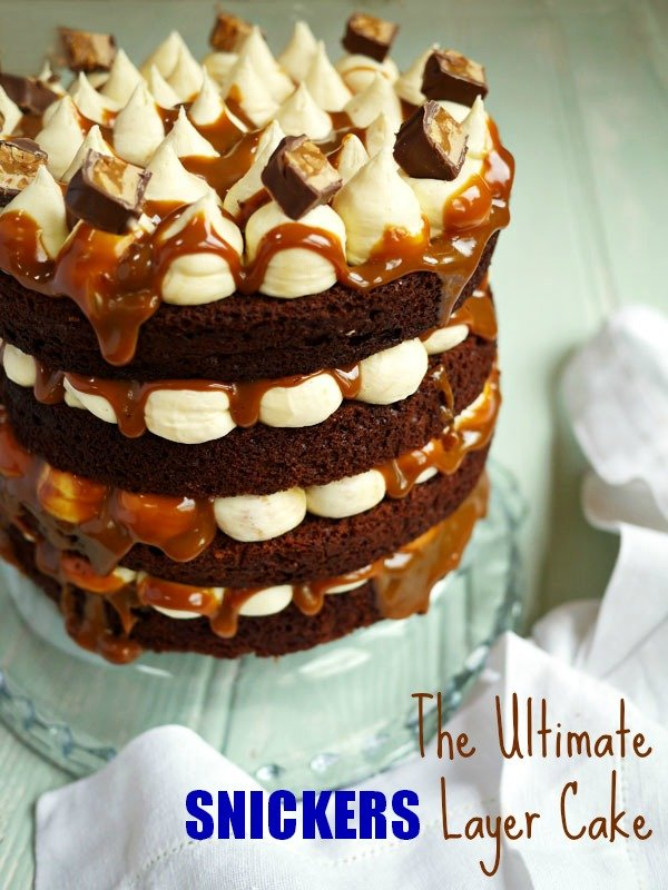 The Ultimate Snickers Layer Cake Taming Twins