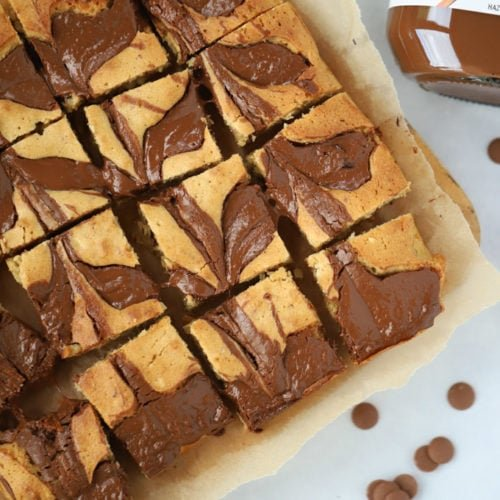Blondies with Peanut Butter and Nutella swirls on top