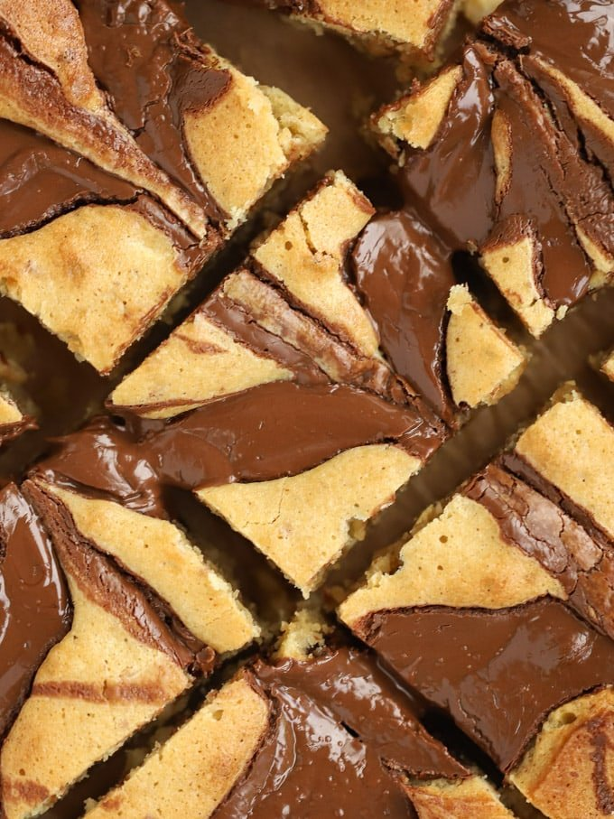 Homemade Blondies with Nutella and Peanut Butter swirls