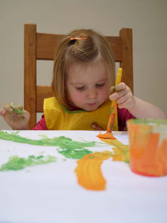 Toddler Leaf Painting