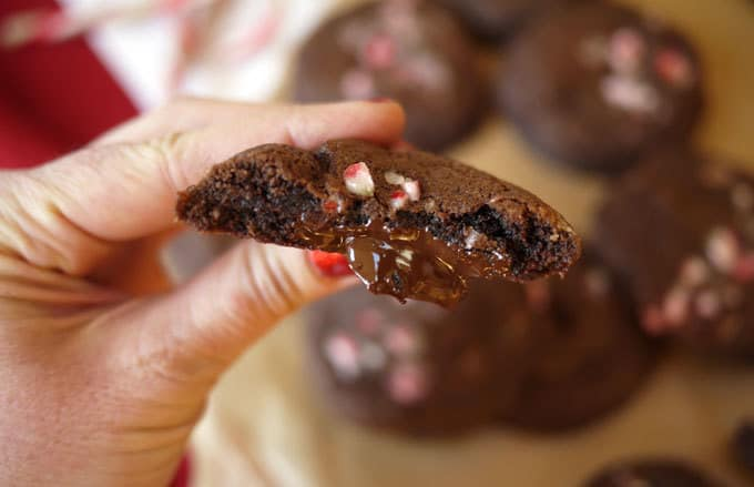 Chocolate Stuffed Candy Cane Cookie