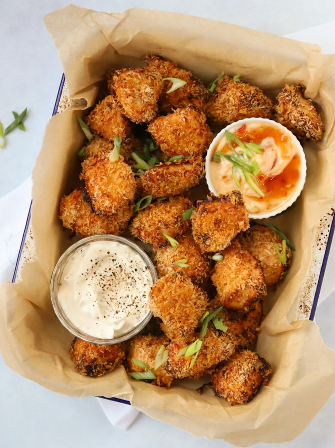 Homemade Chicken Nuggets coated in Panko breadcrumbs with dipping sauce.