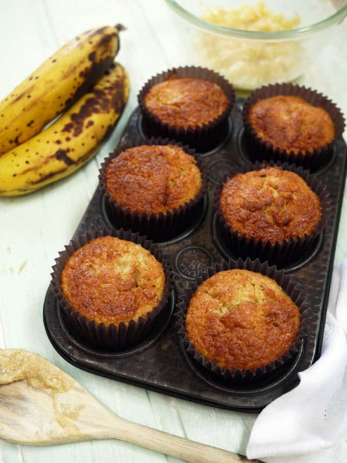 Light, fluffy, Banana Muffins - Ideal as a quick and simple bake or even to cook with kids. Use up those brown bananas and make something yummy as a treat or even breakfast.