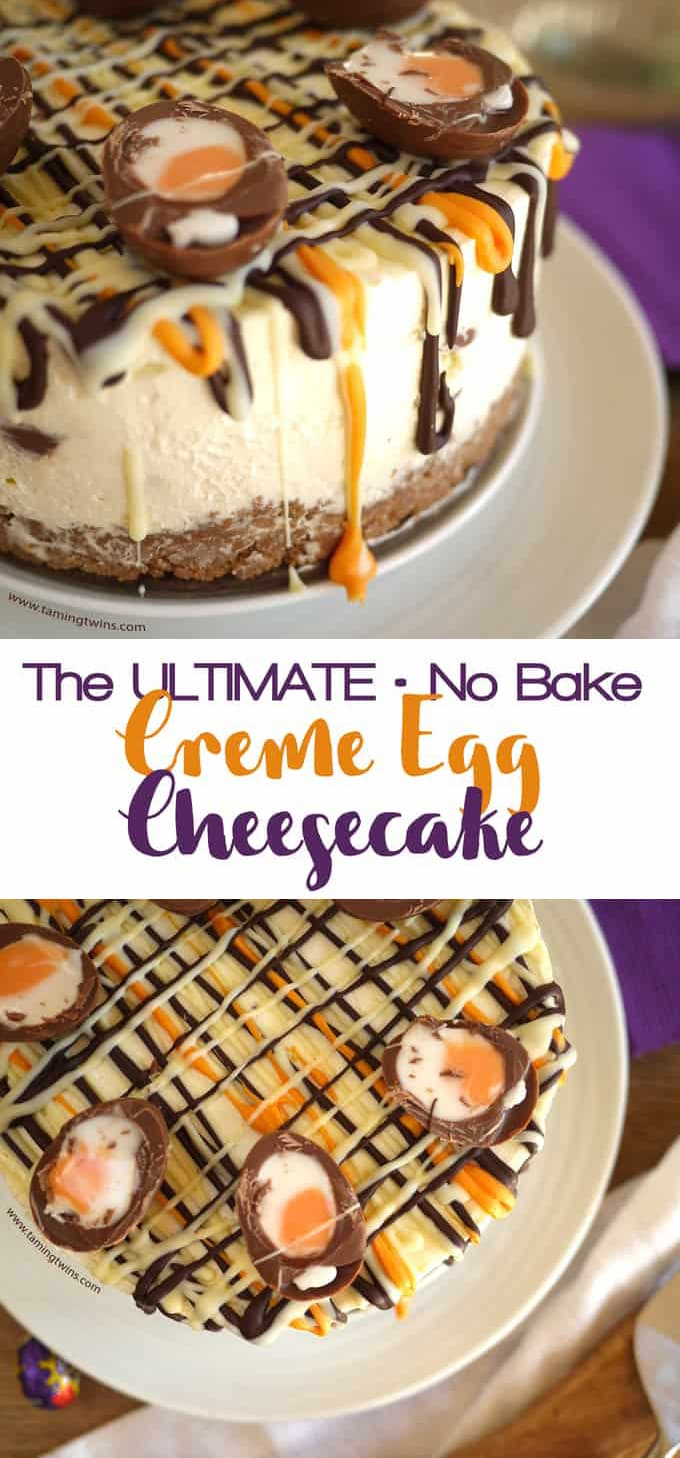 This Cadbury's Creme Egg Cheesecake Recipe (No Bake!) has been viewed over a million times. The ultimate Easter chocolate make, find out what all the fuss is about... This super easy dessert is a buttery biscuit base, topped with light, whipped cream and cream cheese,  with chocolate and Creme Eggs. Easily adaptable to be Gluten Free. #easter #cheesecake #dessertrecipe #cremeeggs #tamingtwins