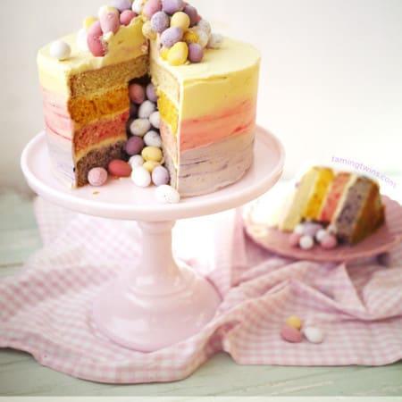 Easter Ombré Pinata Cake