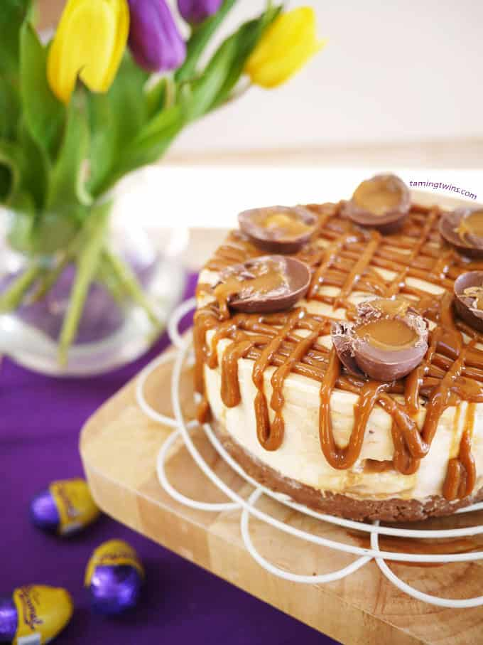 Caramel Cheesecake with Cadburys Caramel Eggs - A delicious Easter dessert treat. This nobake, easy make is theperfect pudding for a party!