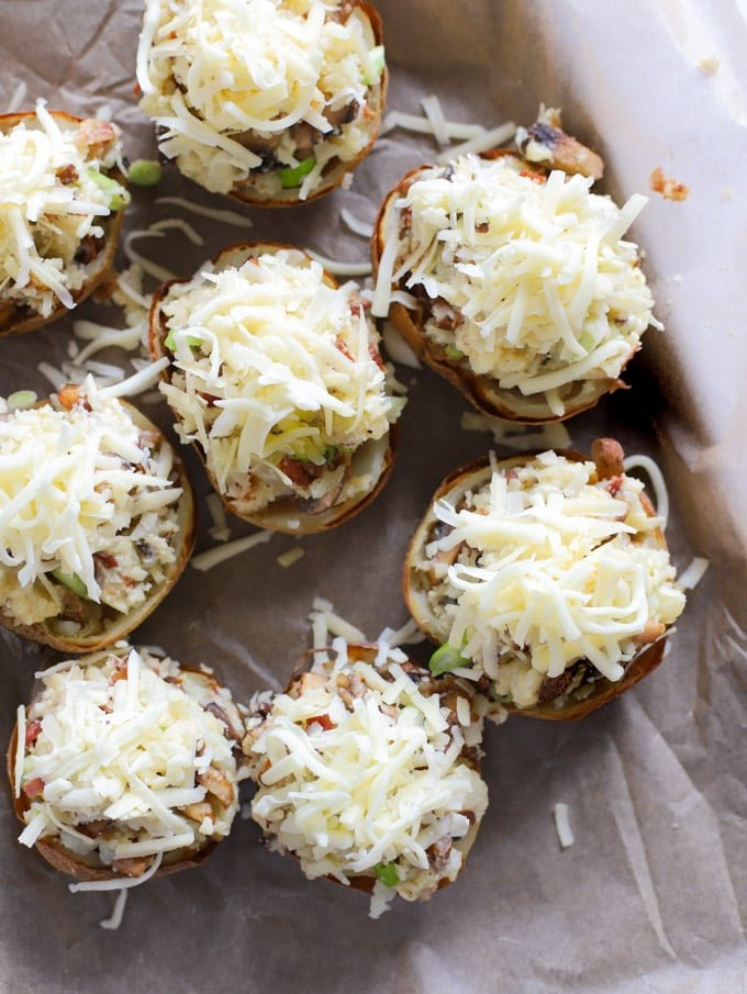 Stuffed potato skins ready to be cooked