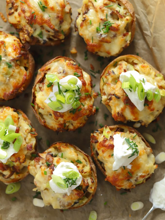 Stuffed potato skins loaded with cheese and sour cream