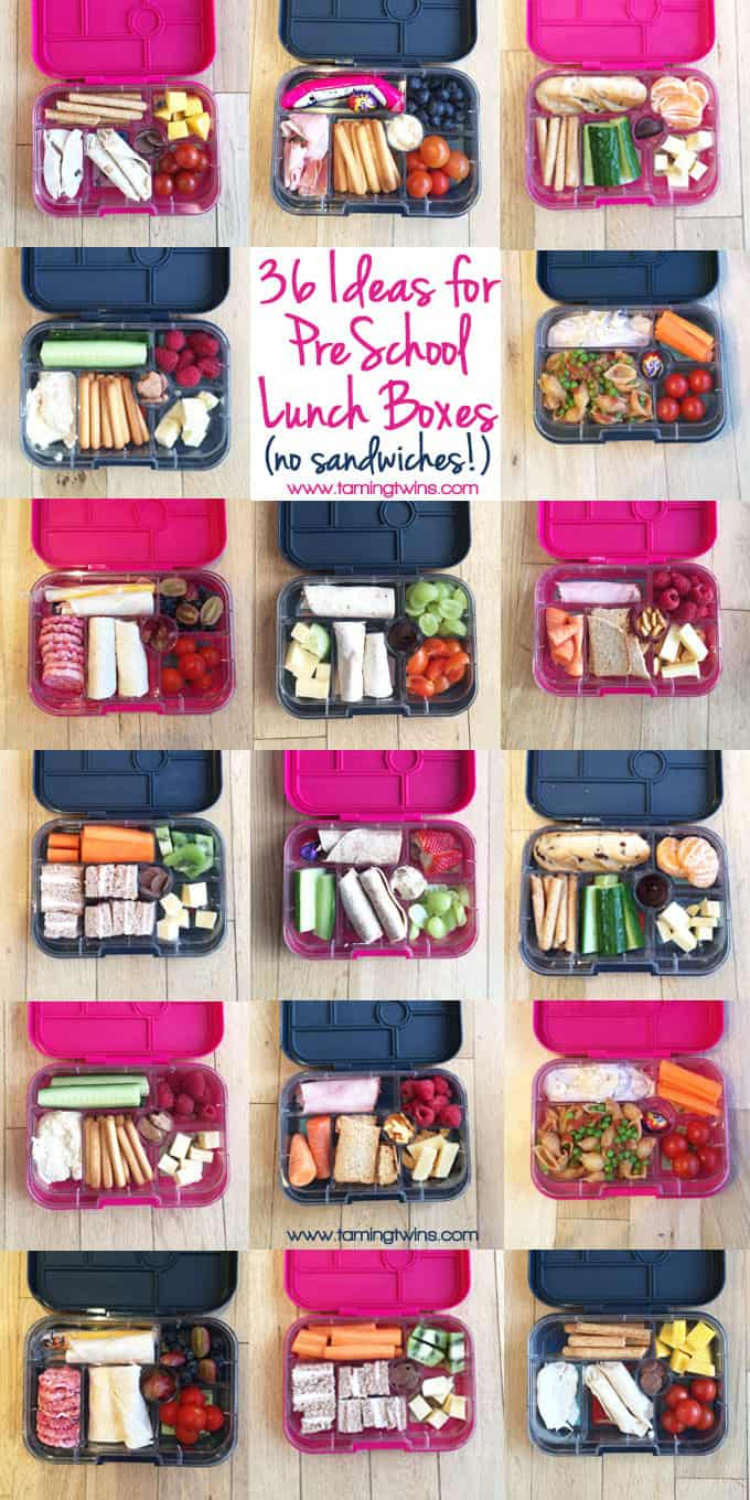 Lunchbox Ideas for PreSchoolers - with no boring sandwiches! Inspiration for more interesting pack ups for kids | https://www.tamingtwins.com