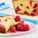Quick and Easy Raspberry Loaf Cake made with Optiwell Yoghurt Drink for extra flavour and protein. A really simple tea time treat, it keeps well and works every time. https://www.tamingtwins.com