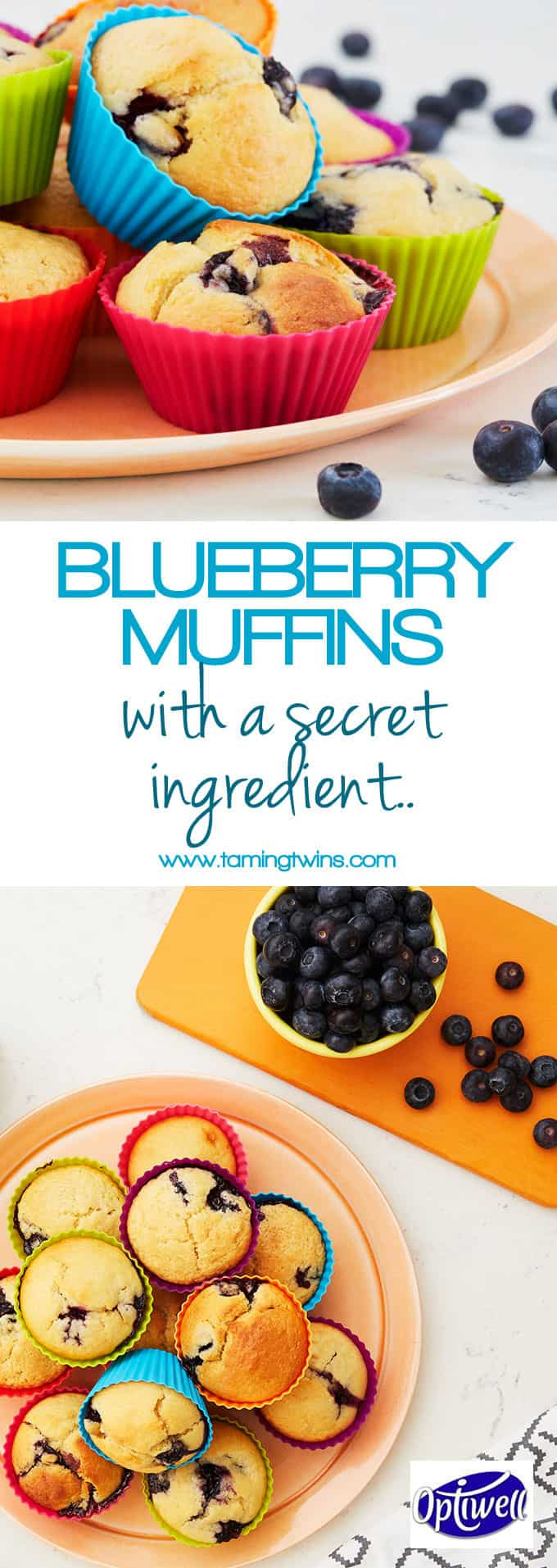 Blueberry muffins made with Optiwell yoghurt drink, for a deliciously tasty cake. Perfect for breakfast or an afternoon tea treat. https://www.tamingtwins.com