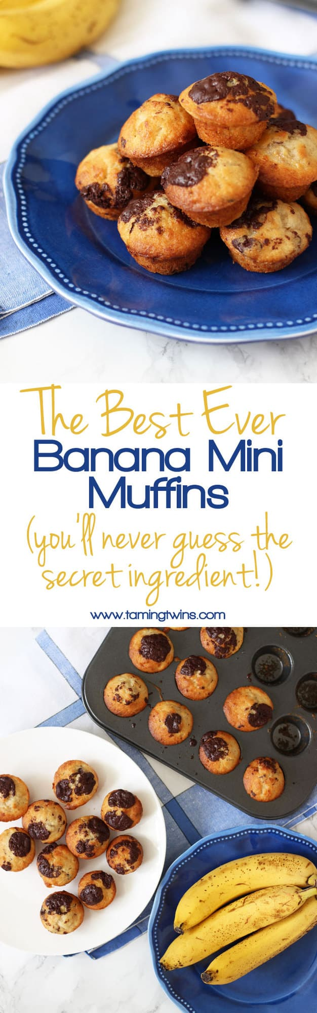 Mini banana muffins, made with a secret ingredient! Made with no need for oil or eggs, delicious, light, packed with chocolate chips, these little cakes make a super afternoon snack or breakfast treat. https://www.tamingtwins.com