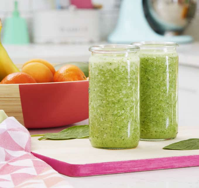A delicious, quick, green smoothie made with Optiwell for added protein. Packed with pineapple, banana, mango and spinach, this will keep you full until lunch.