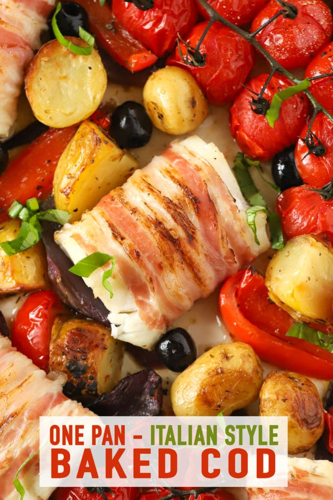 Easy baked cod loins recipe with tomatoes and wrapped in bacon