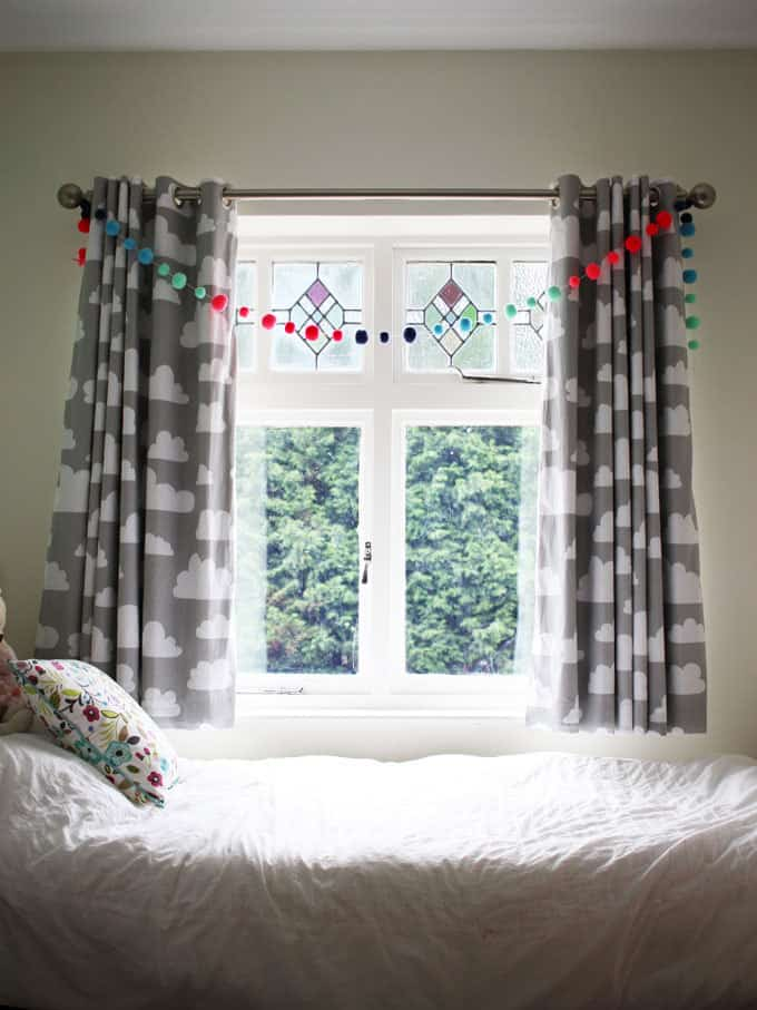 Farg form grey cloud fabric curtains work perfectly in this room. A little girl's pink and mint green bedroom tour. Inspiration and decoration ideas for a perfect room for a four year old girl.
