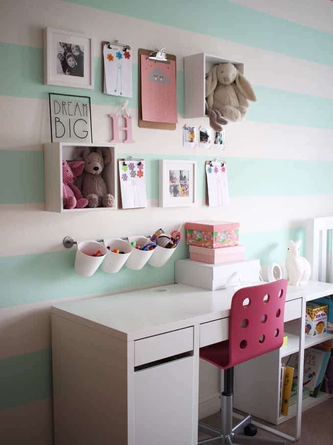 Mint green bedroom tour taming twins for Where can i get wallpaper for my room